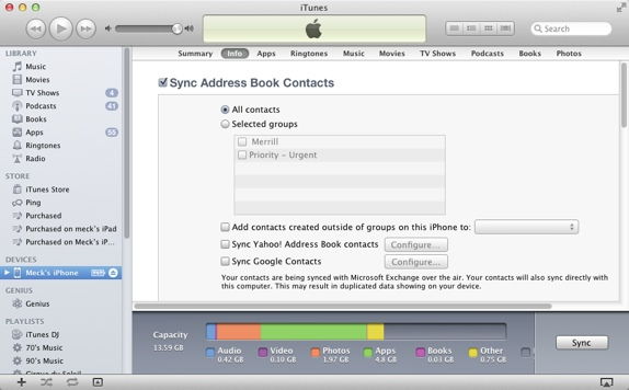 sync csv contacts using itunes